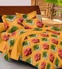 Casa Basic Yellows Geometric Patterns Cotton Queen Size Bed Sheets - Set of 3