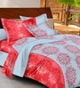 Casa Basic Red & Grey Cotton Queen Bed Sheet with 2 Pillow Covers