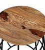 Talcher Sheesham Wood Stool in Natural Sheesham Finish by Bohemiana