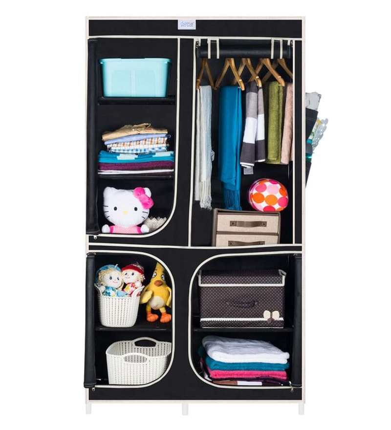Cbeeso Carbon Steel & Fabric Black Collapsible Wardrobe