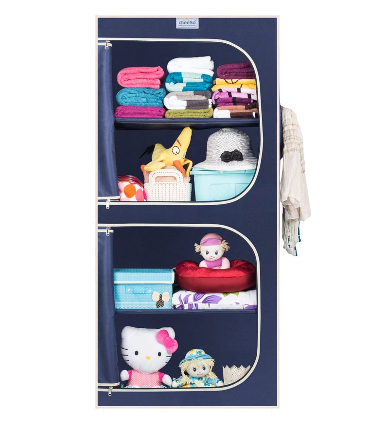 Fabric & Metal Navy Blue Collapsible Wardrobe by Cbeeso