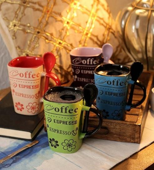 368bcde6ed6 Buy Ceramic 250 ML Mug- Set of 4 Online - Slogan Mugs - Mugs ...