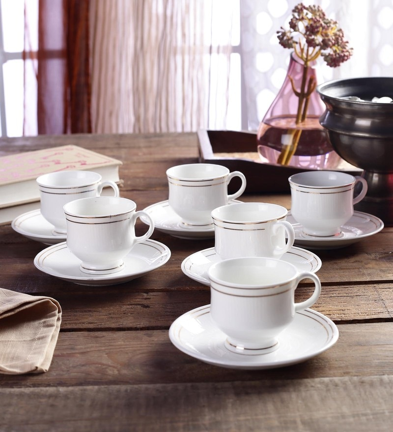 CDI Stoneware Cups & Saucers Bone China 200 Ml - Set Of 12