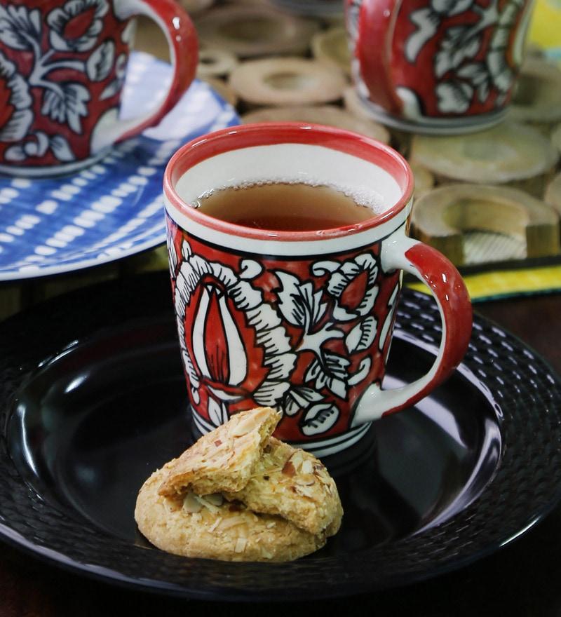 Cdi Mughal Art Red Print Stoneware 200 ML Coffee Mug - Set of 6