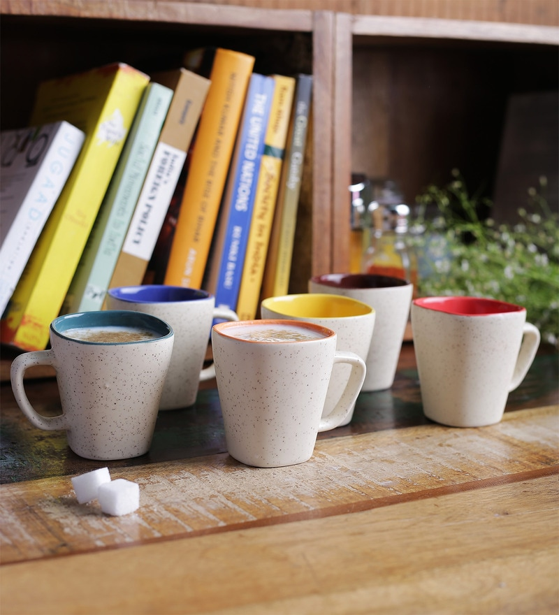 Cdi Square Shape Stoneware 200 ML Mugs With Wooden Tray - Set of 6
