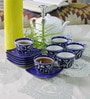 Cdi Blue Stoneware 150 ML Mughal Art 12-piece Cup and Saucer Set