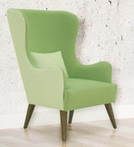 Cecelia Wing Chair in White and Green Colour