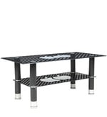Center Table with Glass Top (Apple) & Shelf in Black Colour