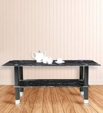 Center Table with Rectangular Glass Top in Black Marble Stone Finish