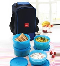 Cello Max Fresh Joy Blue Plastic Containers Lunch Box - Set Of 3
