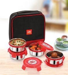 Cello Max Fresh Supremo Red Steel Lunch Box - Set Of 4
