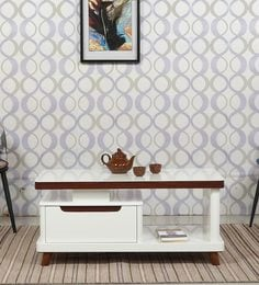Center Table With Drawer In Ivory Finish - 1641136