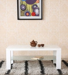 Center Table With Shelf In White Colour