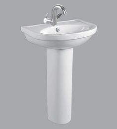 Cera Wall Mounting Wash Basin With Full Pedestal, White - 1721337