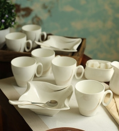 Ceradeco Ceramic 200 ML Mugs With Bowls & Spoons - Set Of 10