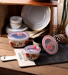 Ceradeco Floral Print Ceramic 500 ML Air Tight Bowl - Set Of 6