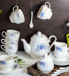 Ceradeco White Gold 21 Piece Tea Set ...