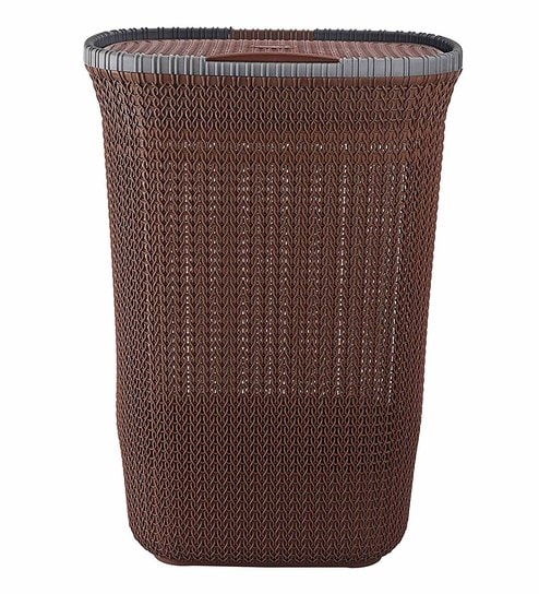 Cello Creta Plastic Laundry Basket With Lid Brown And Dark Grey Online Baskets Bath Pepperfry Product