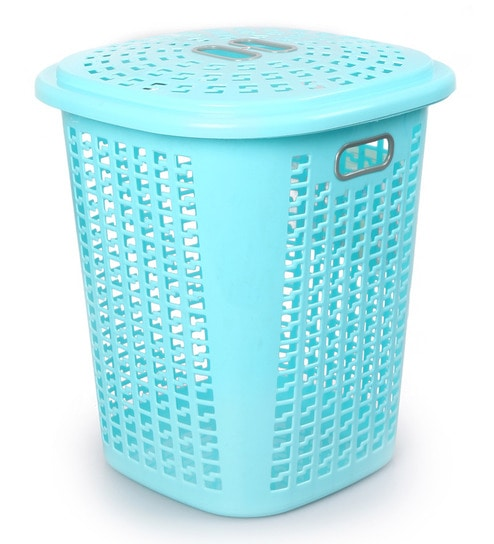 Cello Esquire Plastic 50 L Blue Laundry Basket With Lid Online Baskets Bath Pepperfry Product