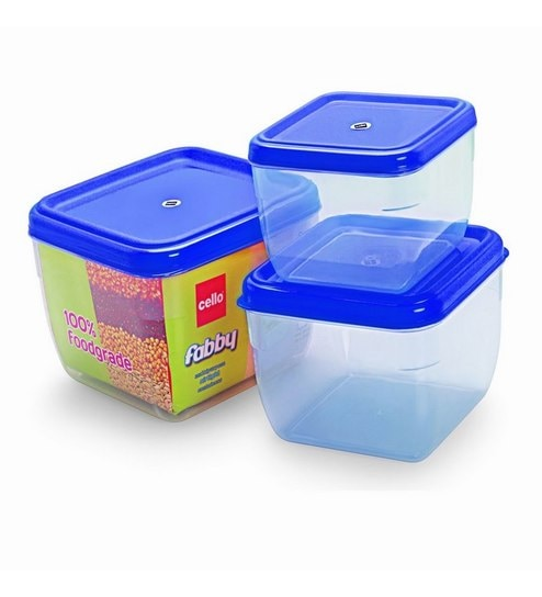 40dbbb3a2 Buy Cello Fabby Square Container Set (3 pcs) Blue Online - Airtight ...