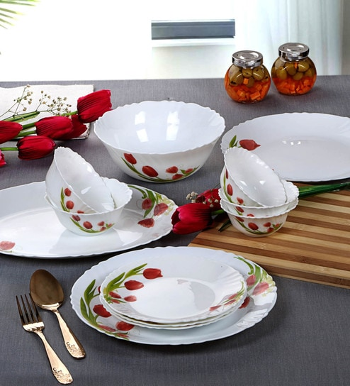 Cello Imperial Red Bloom Opalware Dinner Set, 27 Pc