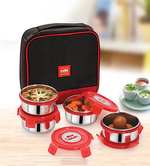 954c781aa98 Buy Cello Max Fresh Supremo Red Steel Lunch Box - Set Of 4 Online ...
