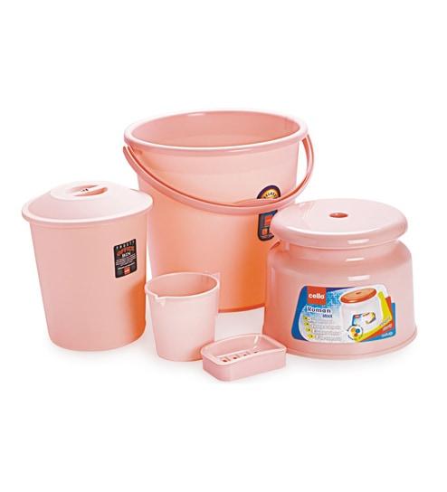 Cello Polypropylene Pink Bathroom Set - Set of 5