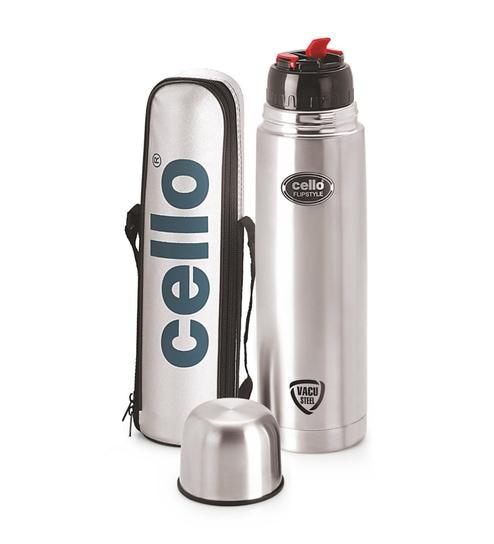 d607ae1de Buy Cello Silver Stainless Steel 500 ML Flip Style Bottle Online ...