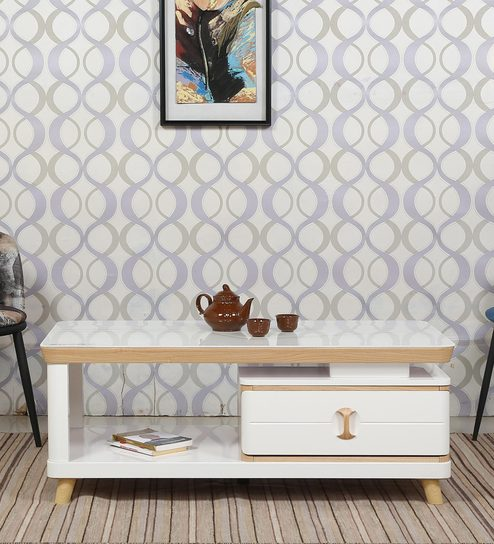 Raliegh Center Table with Drawer in Ivory Finish by Parin
