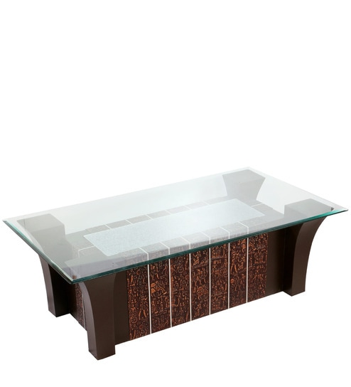 Buy Center Table With Glass Top Ethnic Design In Brown Colour By