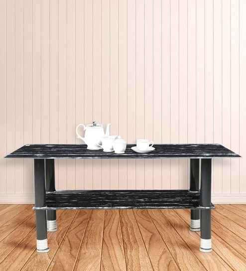 Incroyable Center Table With Rectangular Glass Top In Black Marble Stone Finish By  Parin