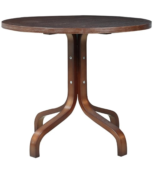Center Table with Round Wooden Top in Brown Colour Melamine Polish by Parin