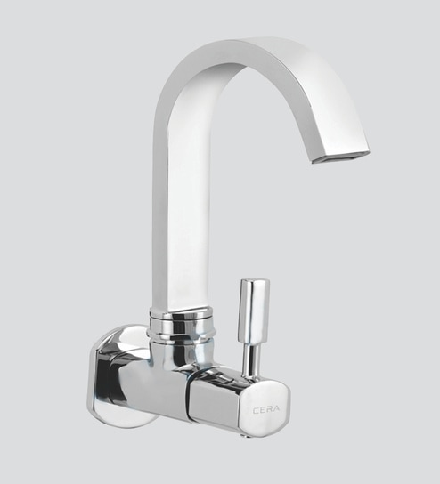 Buy Cera Gayle Chrome Brass Kitchen Sink Tap With Wall Flange