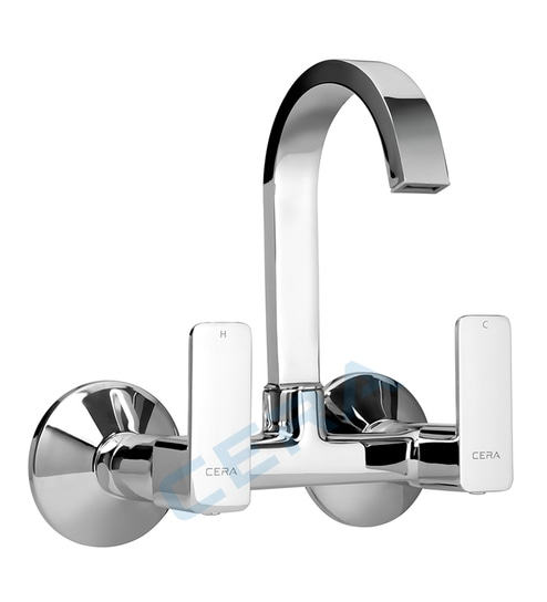 Cera Ruby Chrome Brass Kitchen Sink Mixer With Wall Flange Model F1005501