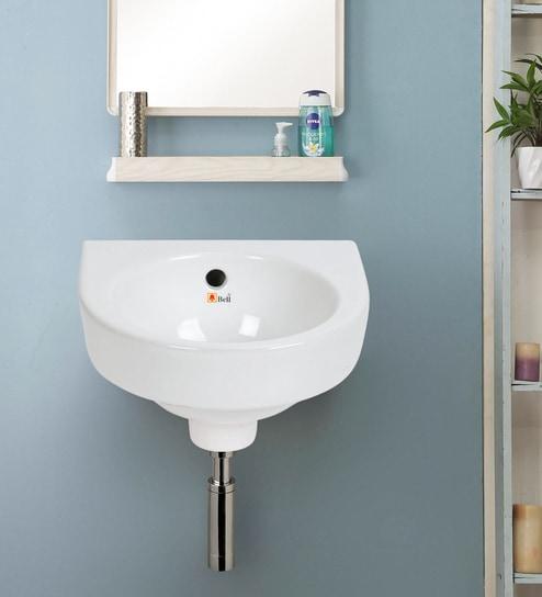 U Shape White Counter Top Wash Basin