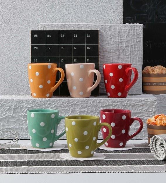 Buy Ceramic 200 ML Coffee Mugs - Set of 6 by Ceradeco Online - Ceramic Mugs  - Mugs - Dining & Bar - Pepperfry Product