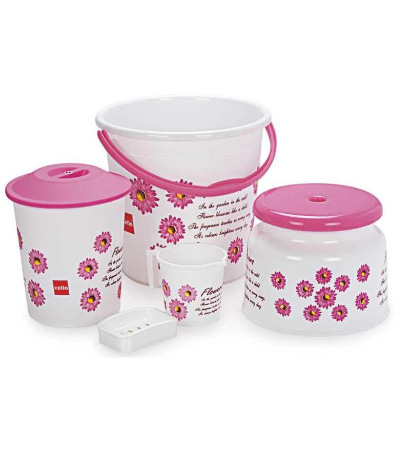 Cello Classic Polypropylene Pink Bathroom Set - Set of 5