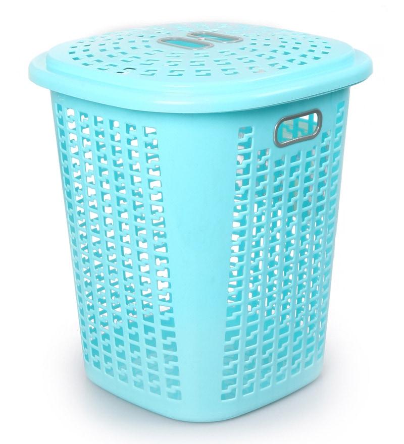 Buy Cello Esquire Plastic 50 L Blue Laundry Basket With