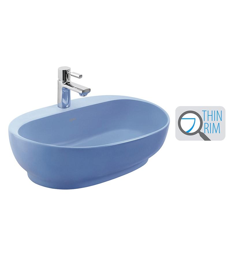 Cera Cafe Blue Ceramic Wash Basin