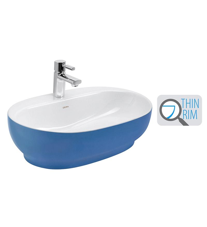 Cera Cafe White & Blue Ceramic Wash Basin