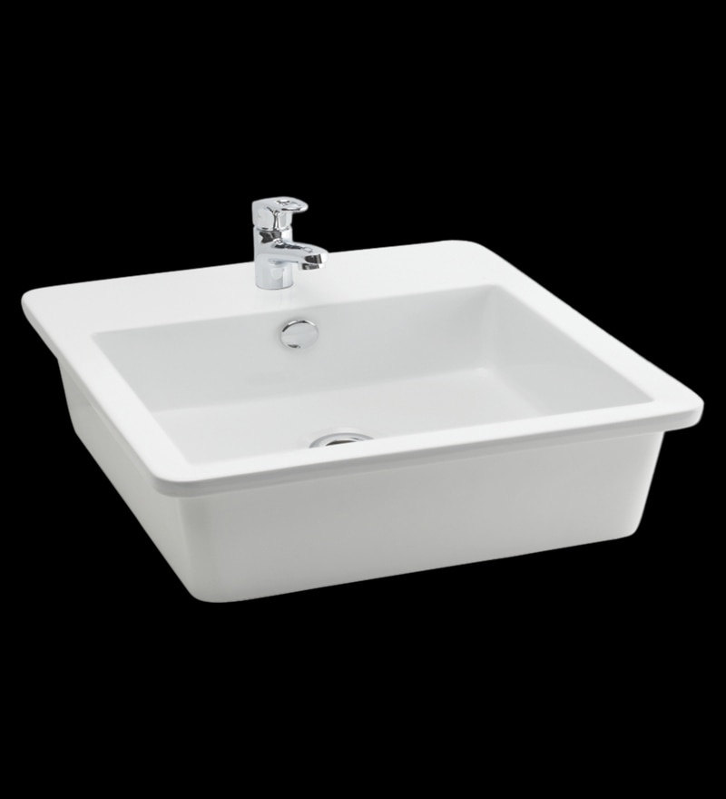 Cera Crest White Ceramic Table Top Wash Basin