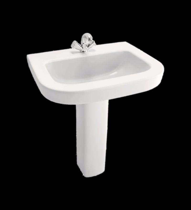 Cera Cruse White Ceramic Wash Basin with Pedestal