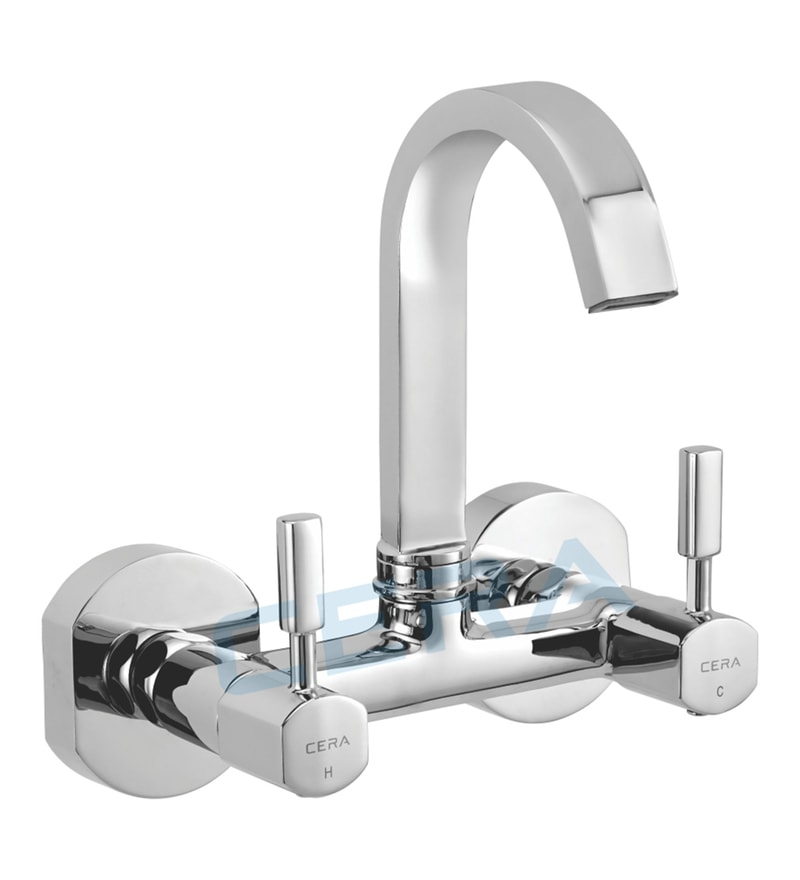 Cera Gayle Chrome Brass Kitchen Sink Mixer with Wall Flange (Model: F1014501)
