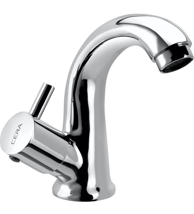 Cera Ocean Quarter/Half Turn Cl 222L Chrome Plated Brass Pillar Cock with Swan Neck Spout