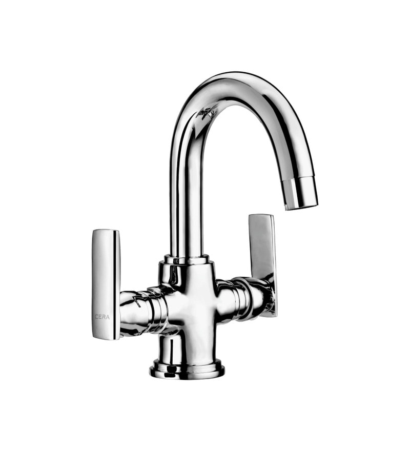 Cera Titanium Single Lever Cs 315A Chrome Plated Brass Central Hole Basin Mixer