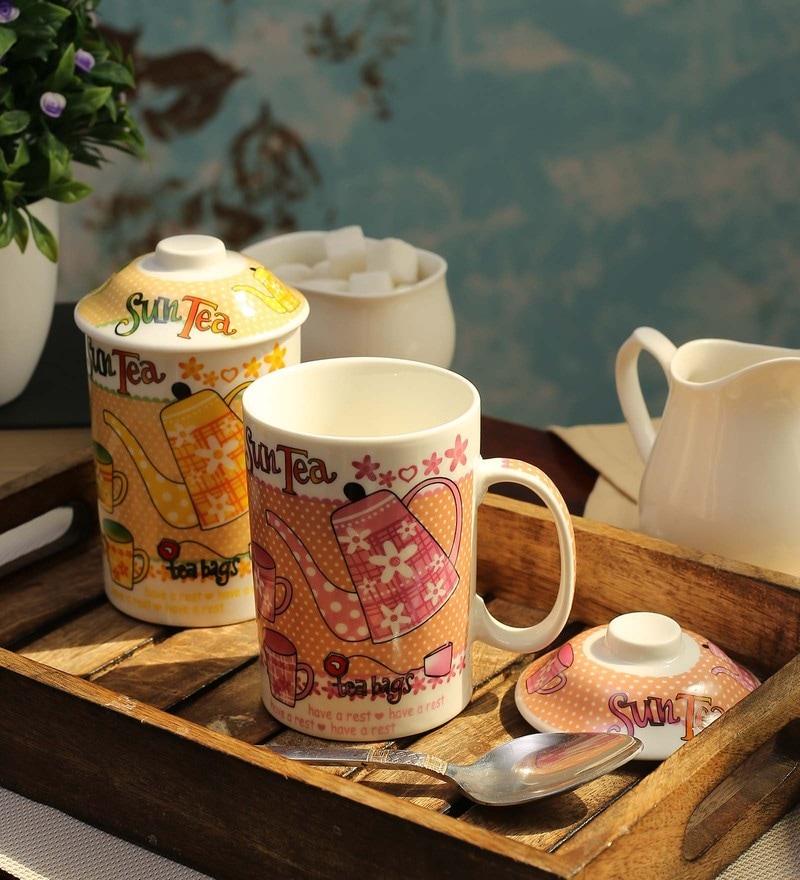 Ceradeco Ceramic 300 ML Green Tea Mugs - Set of 4