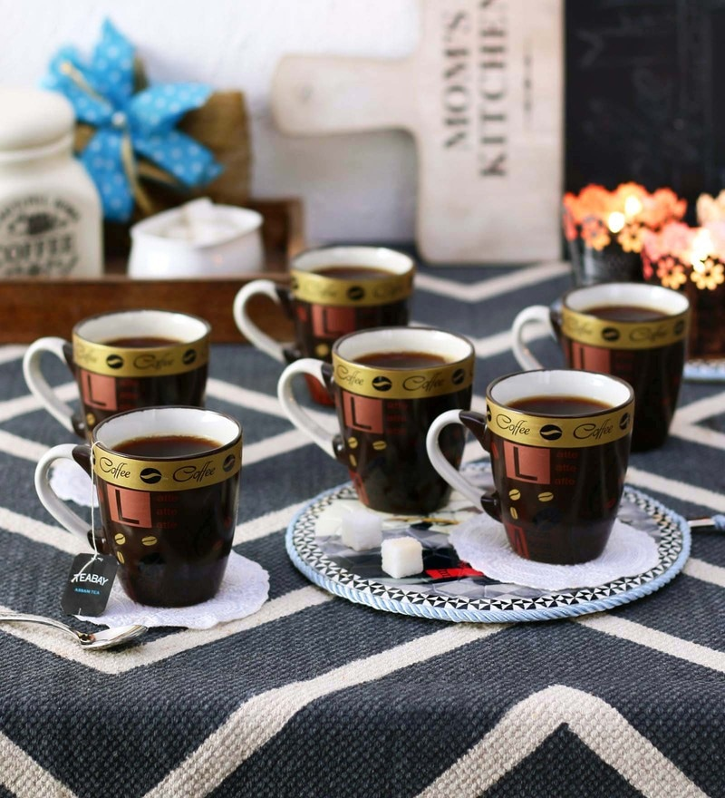 Ceradeco Opera Black Gold Ceramic 200 ML Mugs - Set of 6