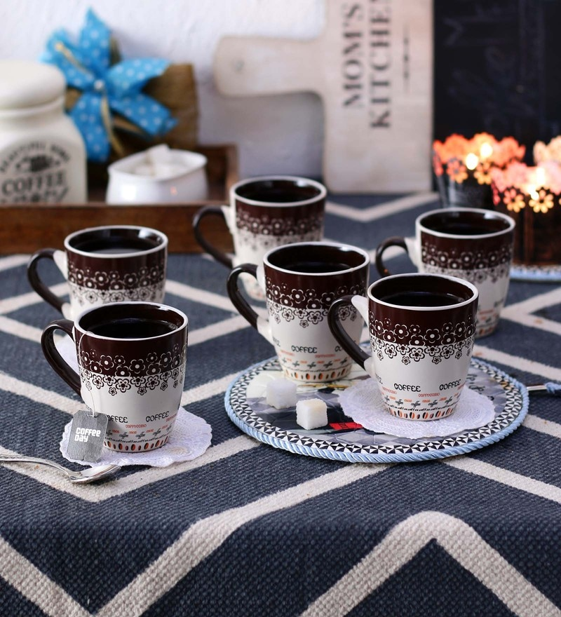 Ceradeco Opera Brown White Ceramic 200 ML Mugs - Set of 6