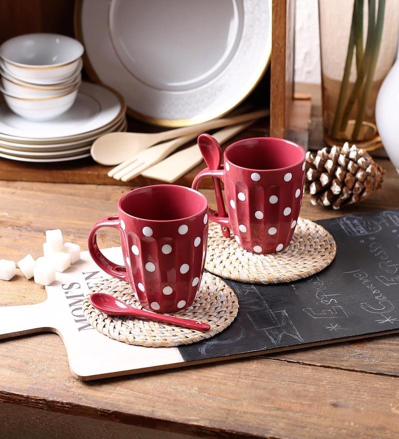 Ceradeco Polka Dot Cherry Ceramic 250 ML Mug with Spoon - Set of 2