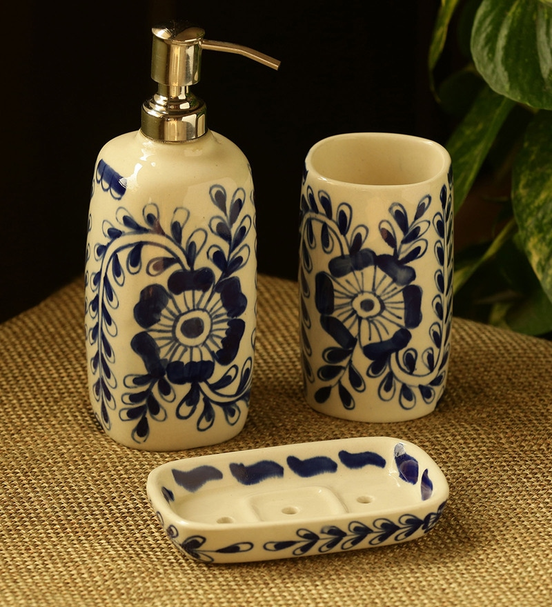 Ceramic Hand Painted Blue White, Blue And White Bathroom Accessories
